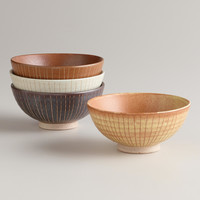 Fuji Lines Rice Bowls, Set of 4 - World Market