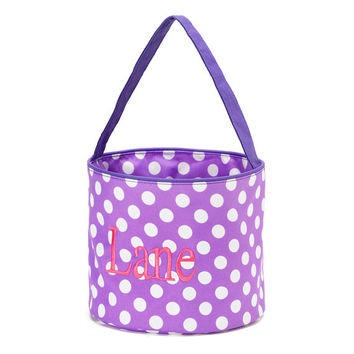 Easter Basket Purple Polka Dot Tote Bucket  -  Personalized Monogrammed Lavender Lilac