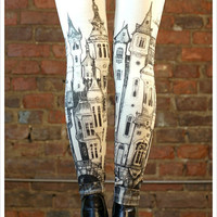 Victorian City Leggings - Off white Leggings - Womens leggings - SMALL Legging