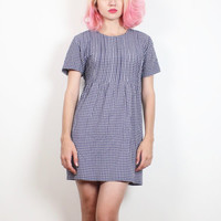 Vintage Soft Grunge Dress 1990s Dress Navy Blue White Gingham Check Plaid Babydoll Dress 90s Dress Grunge Mini Dress Pleated XS S Small M