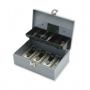 "sparco products cash box, 5 compartments, 11-3/8""x7-1/2""x3-3/8"", gray"