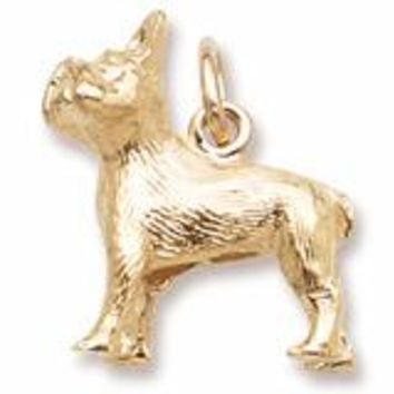 French Bulldog Charm In Yellow Gold
