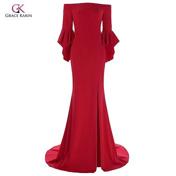 Grace Karin Long Evening Dresses 2017 Three Quarter Ruffle Sleeves High Slit Mermaid Prom Dress Floor Length Formal Party Gowns