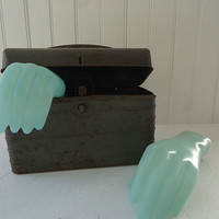 Vintage Mannequin Hands, Green Plastic Display Hands, Photo Prop