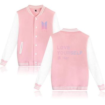 KPOP BTS Bangtan Boys Army k-pop   love yourself Pink Baseball Uniform Jungkook jin jimin v suga Long Sleeve Fleece Jacket Women Hoodies Sweatshirts AT_89_10
