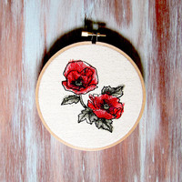 "Poppy Embroidered Hoop Art-Machine Embroidered Wall Hanging-Home & Office Decor-5"" Poppy Flower Hoop Art"