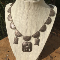 Vintage Peruvian Silver Necklace with Classic Symbols and Link Chain. Embossed Sterling Silver. Marked 925 Peru HR +LAYAWAY AVAILABLE+