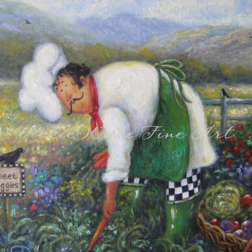 Garden Chef Art Print, chef paintings fat chefs chef art kitchen art food garden vegetables, Vickie Wade art