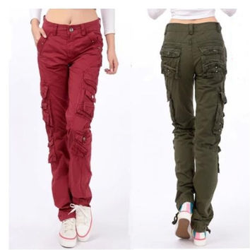 2015 New Women's cotton Cargo Pants Leisure Trousers Outdoor more Pocket pants Hiking pants free shipping