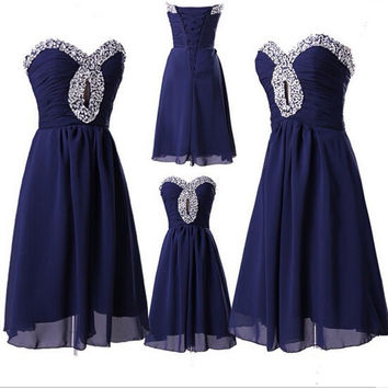 Royal Blue Chiffon Homecoming Dress