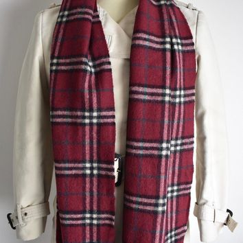 VTG BURBERRY LONDON 100% CASHMERE MAROON NOVA CHECK SCARF MADE IN ENGLAND UNISEX