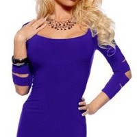 Womens Bodycon Fit Seamless Laser Cut Scoop Neck 3/4 Sleeve Party Mini Dress