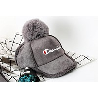 Perfect Champion Print Women Men Wild fur ball winter warm baseball cap