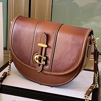 COACH New fashion solid color leather shoulder bag women crossbody bag saddle bag Brown