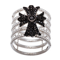 Black Antique Cross Sterling Silver CZ Ring