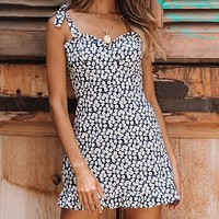 Floral Print Short Dress Women Sexy Spaghetti Strap Sleeveless Ruffle Dress
