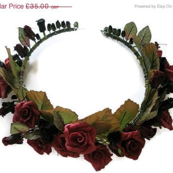 On Sale 25% off Wedding Tiara Red Roses Black leaves Winter bride Gothic green flora headpiece