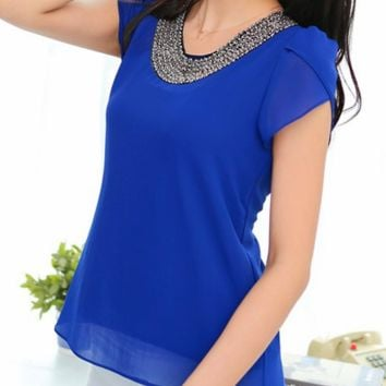 Embroided Chiffon Blouse - Blue