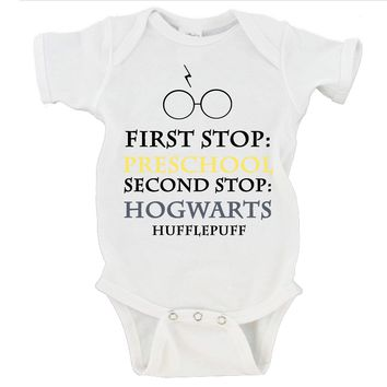 First Stop Preschool Second Stop Hogwarts Hufflepuff Funny Silly Humor Baby Onesuit