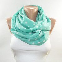 FREE SHIPPING Mint Green Polka-dotInfinity Scarf, Chiffon Infinity Shawl, Women Accessories