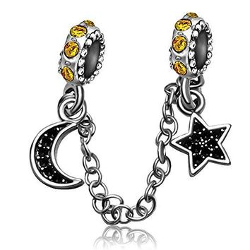 JMQJewelry I Love You To The Moon And Back Star JulyDec Birthstone Dangle Night Sky Charms Beads For Bracelets
