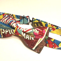 Comic Book Bow Tie • Pre-Tied Bow Tie • Marvel Bow Tie • Geekery Mens Fashion • Super Hero Bow Tie • Spiderman Bow Tie • Gifts For Guys