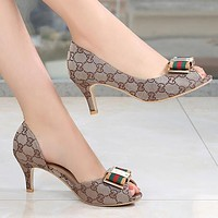 GUCCI Women Fashion Leather Fish Mouth Heels Shoes