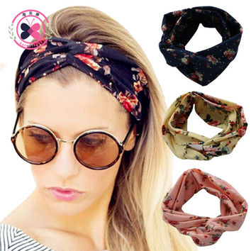 haimeikang Turban Headband Floral Prints Bandanas Korean  Elastic Hair Bands Gum Hair for Girls Hair Accessories for Women