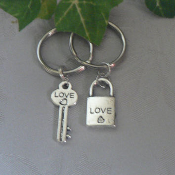 Lock and Key To My Heart KeyChains Love and Heart  Couple Best Friend Key Chain His and Hers Sweetheart Bestie Gift