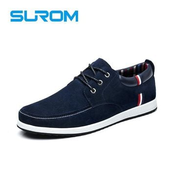 SUROM Autumn Winter Men's Casual Shoes Moccasins Leather Suede Krasovki Men Loafers Su