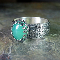 Gemstone ring in sterling silver with Green Onyx, Rose quartz, Amethyst, or Black Onyx - Renaissance Garden