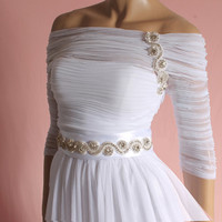Long draped tulle wedding dress / Off-Shoulder embroidered swarowski crystals / ,3/4 Sleeves Bridal Gown