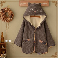 Harajuku cartoon cat bat sleeve hooded cloak coat