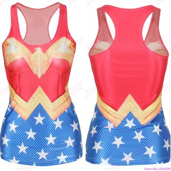 Super Hero Wonder Women Sports Tank Top Girls 3D High Elastic Sleeveless Fitness Yoga Shirts Gym Running Vest Fast shipping