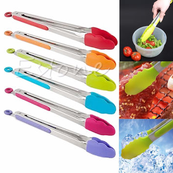 1pc Silicone Kitchen Cooking Salad Serving BBQ Tongs Stainless Steel Handle Utensil