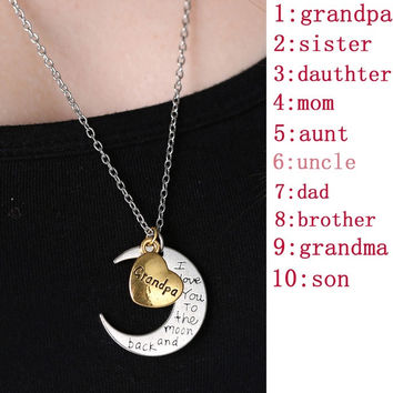 Fashion I Love You Mother Mom dad sister Gift Silver Gold Engraved Letter Pendants Statement Choker Necklace Jewelry 2015 = 1945705732
