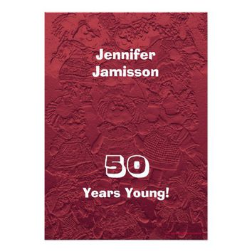 Personalized 50th Birthday Party Dolls Red Card