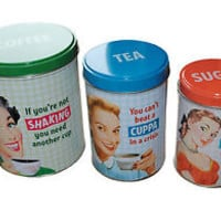 BNIP Retro Kitchen Canisters 1950s Vintage Retro Humour Coffee Tea Sugar Cute