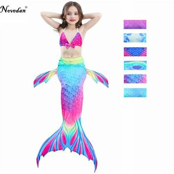 New 2018 The Little Mermaid Tail Costume Princess Ariel Children Mermaid Tail Cosplay Kids For Girl Fancy Swimsuit Bikini Set