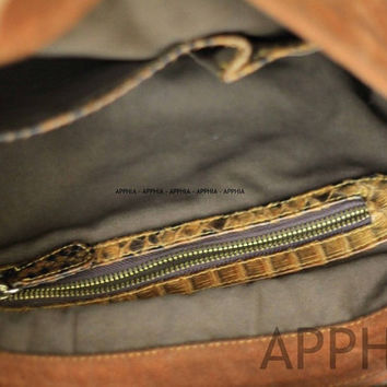 Unisex  Tami Crossbody bag with combination of Genuine Exotic Python Leather and Suede  in Brown Color