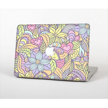 The Vibrant Color Floral Pattern Skin Set for the Apple MacBook Air 11""