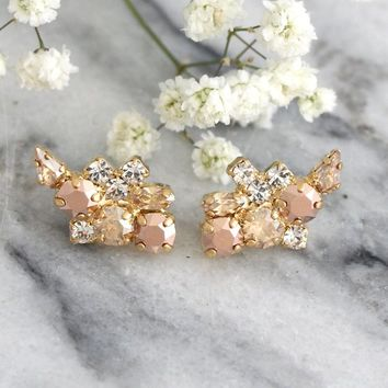 Rose Gold Earrings, Bridal Earrings, Climbing Earrings, Swarovski Crystal Bridal Earrings, Bridal Rose Gold Studs, Cluster Gold Earrings