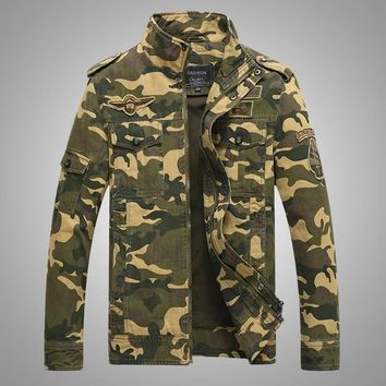 Fall camouflage jacket Air Force One, the new leader of washed cotton frock coat mounted upright walking outdoor sports jacket