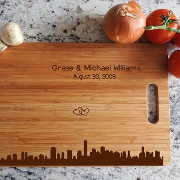 ikb545 Personalized Cutting Board Miami city wooden wedding gift wedding anniversary