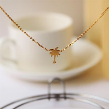 Gorgeous Tale Simple Palm Tree Pendant Necklace Gold Color Stainless Steel Chain Necklaces For Women Boho Jewelry 2017
