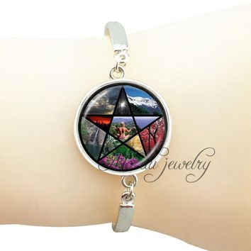 New Pentagram yoga pendant bangle spring,summer,autumn,winter scenery jewelry wiccan occult glass dome spiritual bracelet women