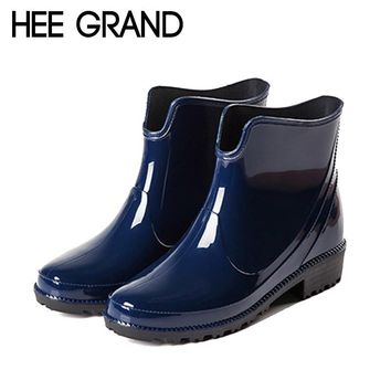 HEE GRAND Rain Boots Platform Women Ankle Boots Casual Rubber Shoes Woman Leopard Slip On Flats Women Shoes Size 36-40 XWX4395