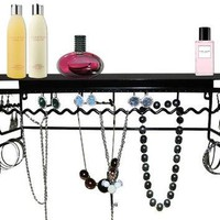 Supreme Classic Black Metal Wall Mount Jewelry Organizer Shelf Earrings Holder Bracele