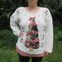 Tacky Christmas Sweater, Tacky Holiday Sweater, Christmas Tree Sweater,Christmas Sweater, Holiday Sweater, Unique Sweater, Knitted Sweater,