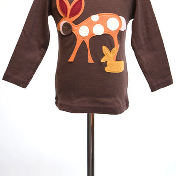 Brown Doe a Deer Felt Applique Tee or Onesuit